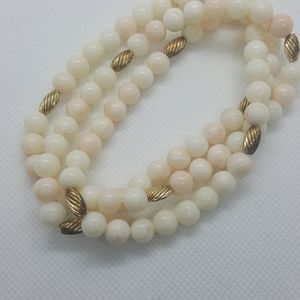 14k Gold Light Angel Skin White Coral Necklace